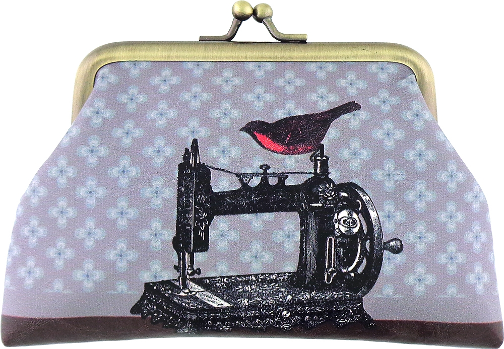 Bird on Sewing Machine/Scissor Coin Purse