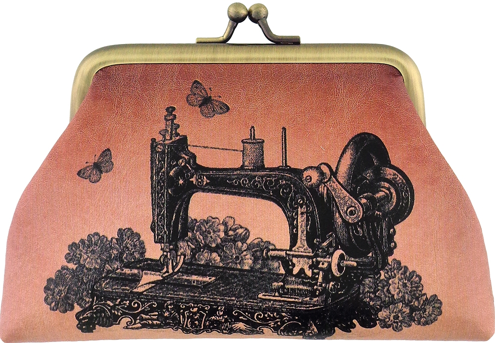 Floral Vintage Sewing Machine Coin Purse