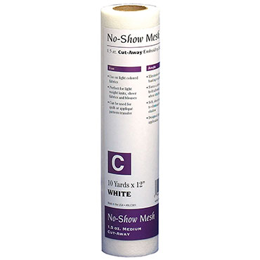 NO SHOW MESH MED CUTAWAY WHITE BABYLOCK STABILIZER 1.5 OZ (non fusible)