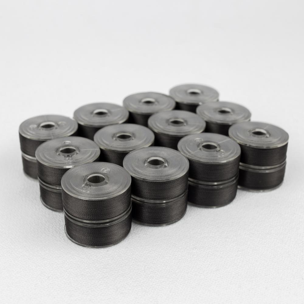 Wonderfil DecoBob 168 Charcoal Prewound Bobbins Size M - 24 Pack 210 yd