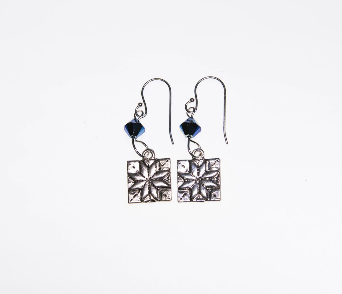 Quilt Patch Earrings - Blue Crystal