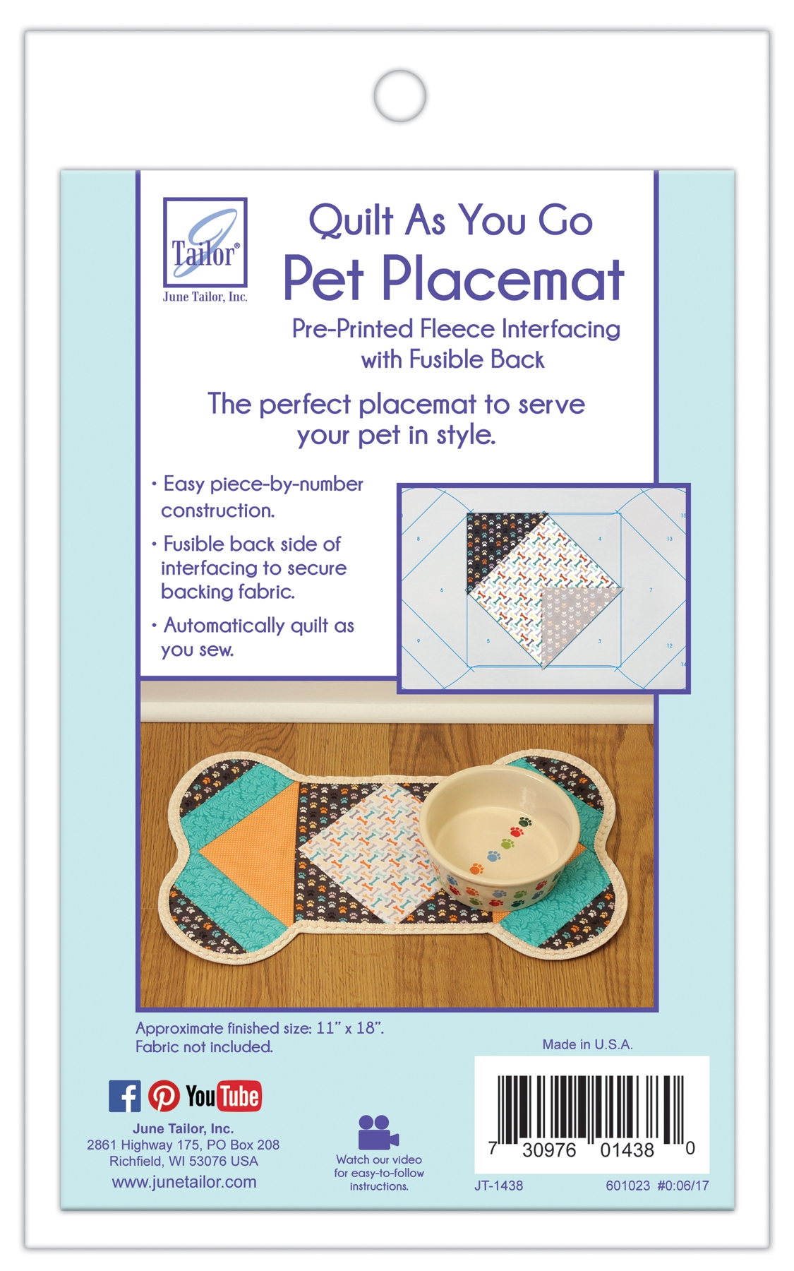 Quilt As You Go Pet Placemat - Dog