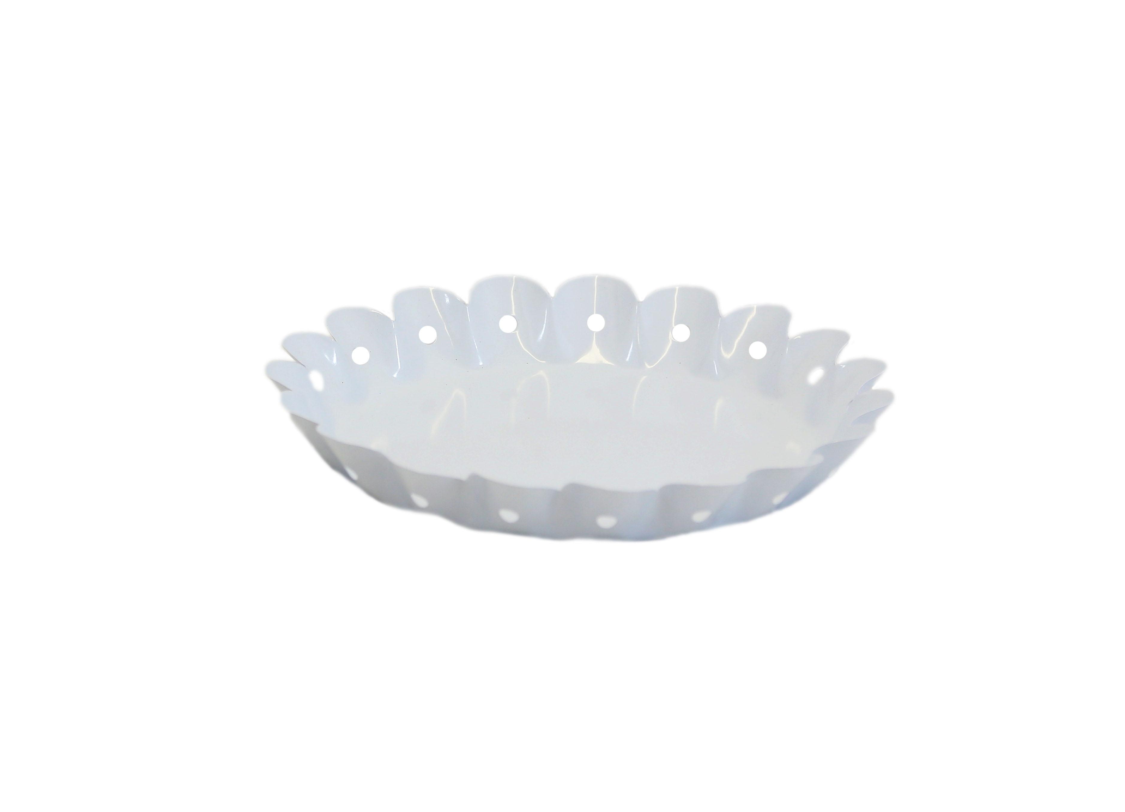 White Round Scalloped Tray