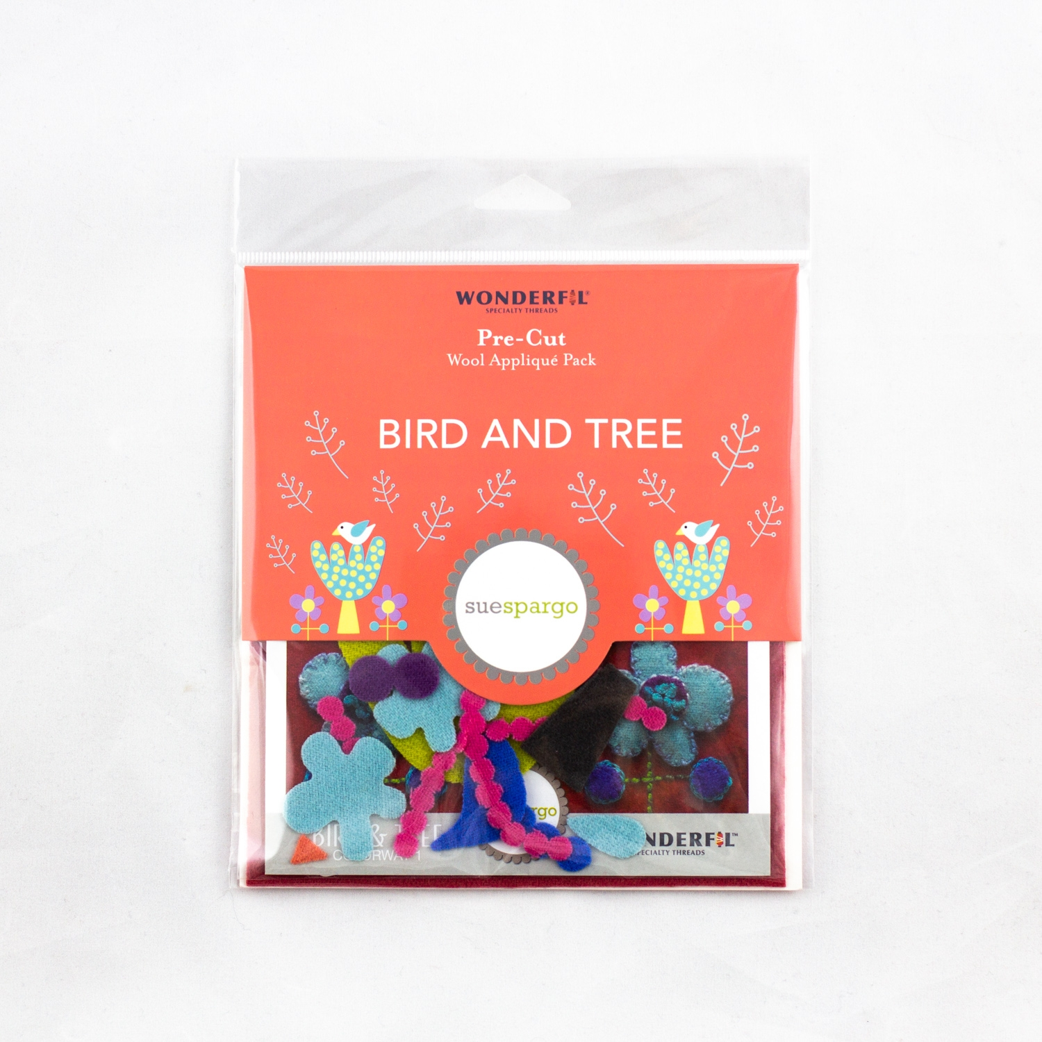 Sue Spargo pre-cut wool pack - bird & tree - colorway 1