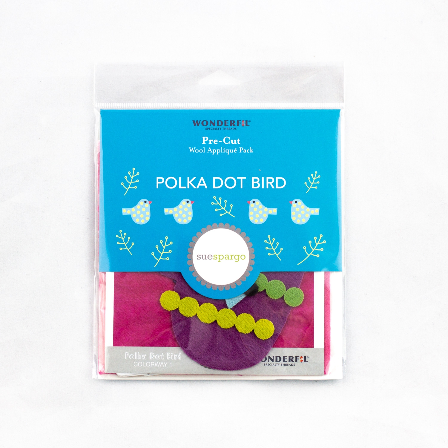 Sue Spargo pre-cut wool pack - polka dot bird - colorway 1