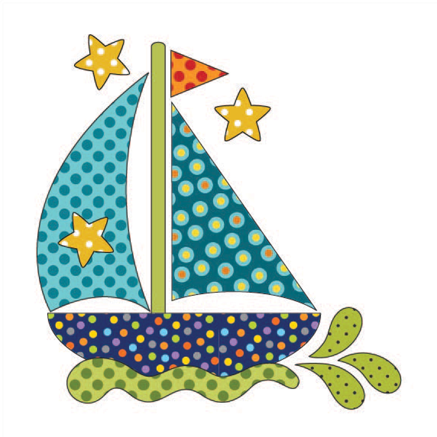 Laser Cut Fusible Applique Sail Away Dotz