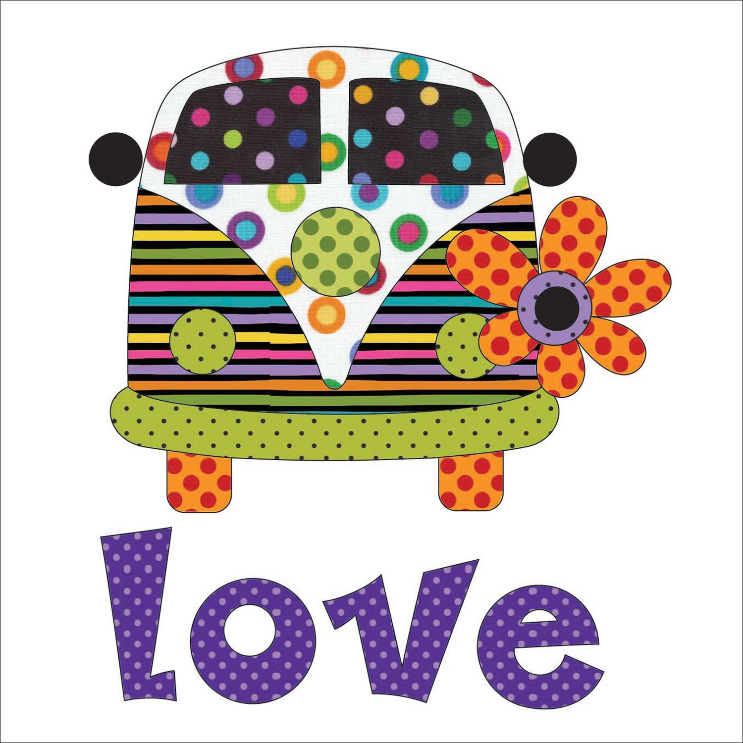 Love Bus Applique Colorworks UEA-1171