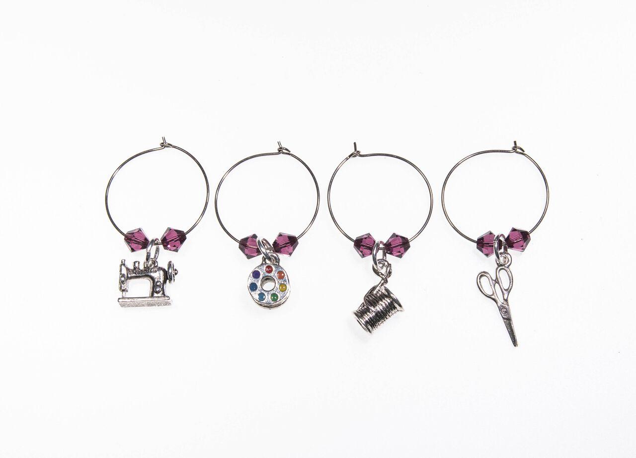 Wine Charms Set of 4 - Purple Crystal