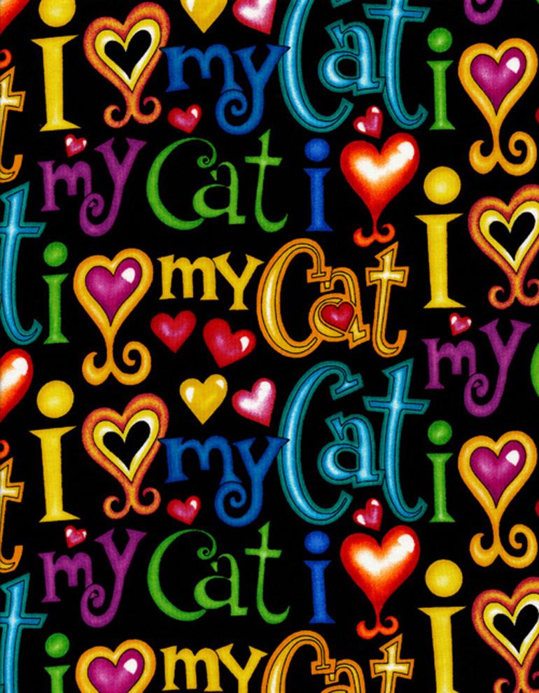 BLACK I LOVE MY CAT BART-C6883