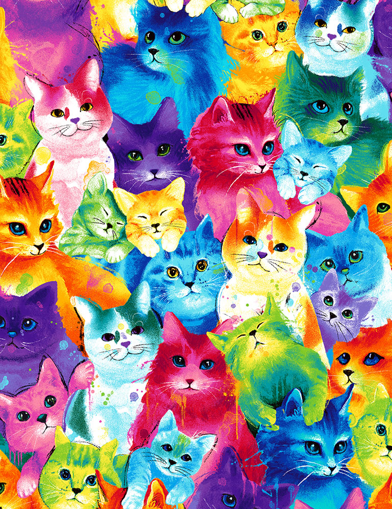 Timeless Treasures Painted Bright Cats