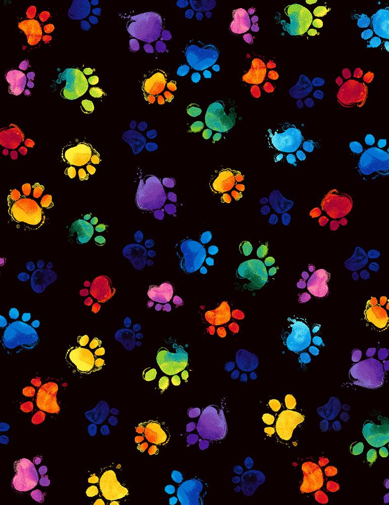 Meow-Za! - Multi-Colored Paws<br>C7487-Black