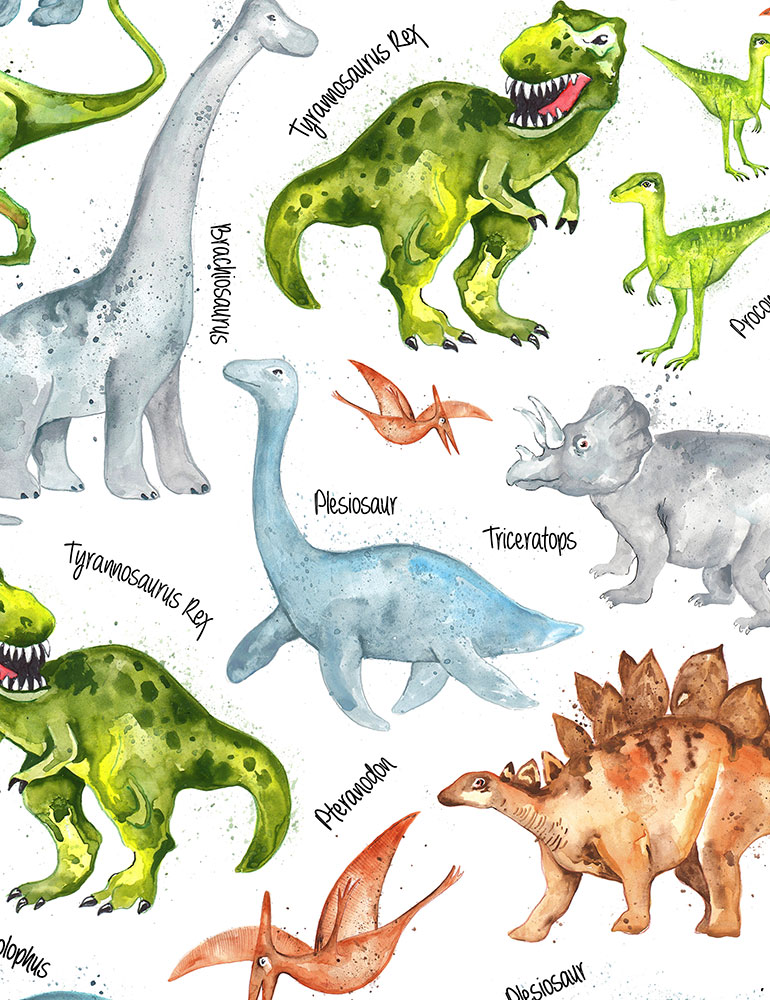 Dinos with Names White