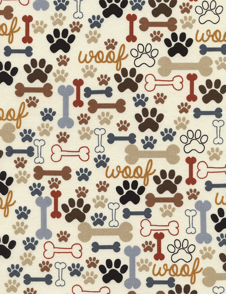 Dog Bones and Paw Prints on Beige