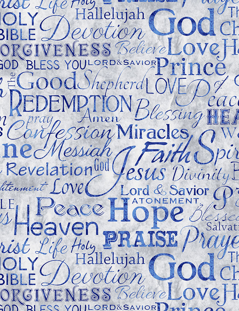**SPECIALTY** Bible Words on Light Blue: Faith by Timeless Treasures