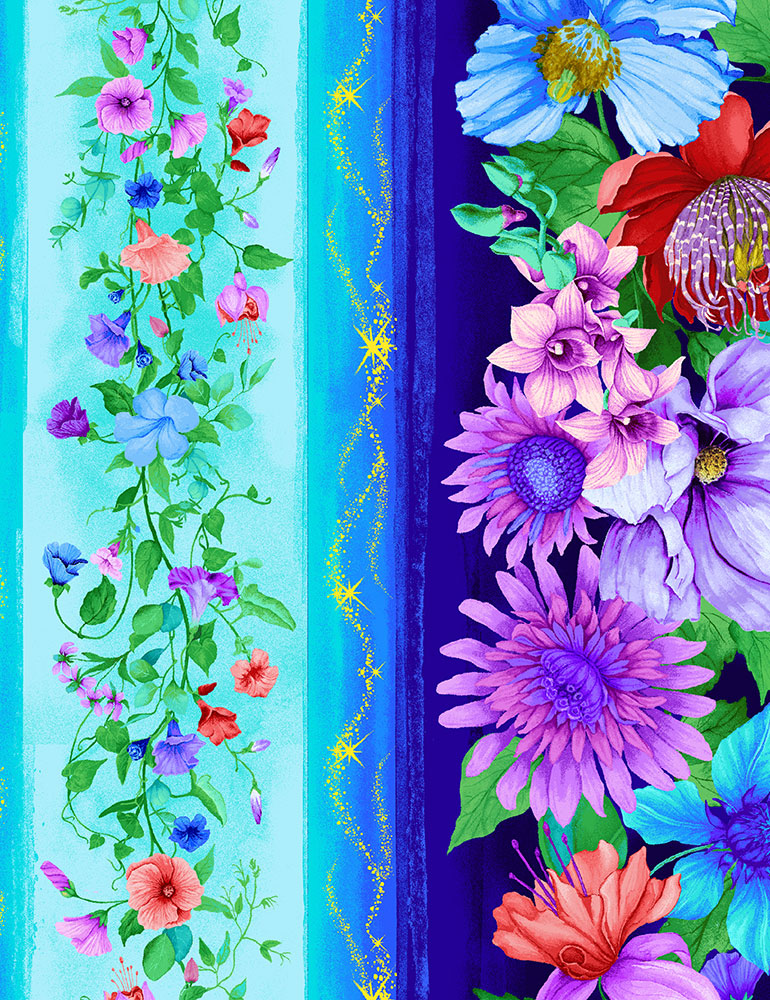 Floral Fantasy Border Stripe 11-inch, Timeless Treasures