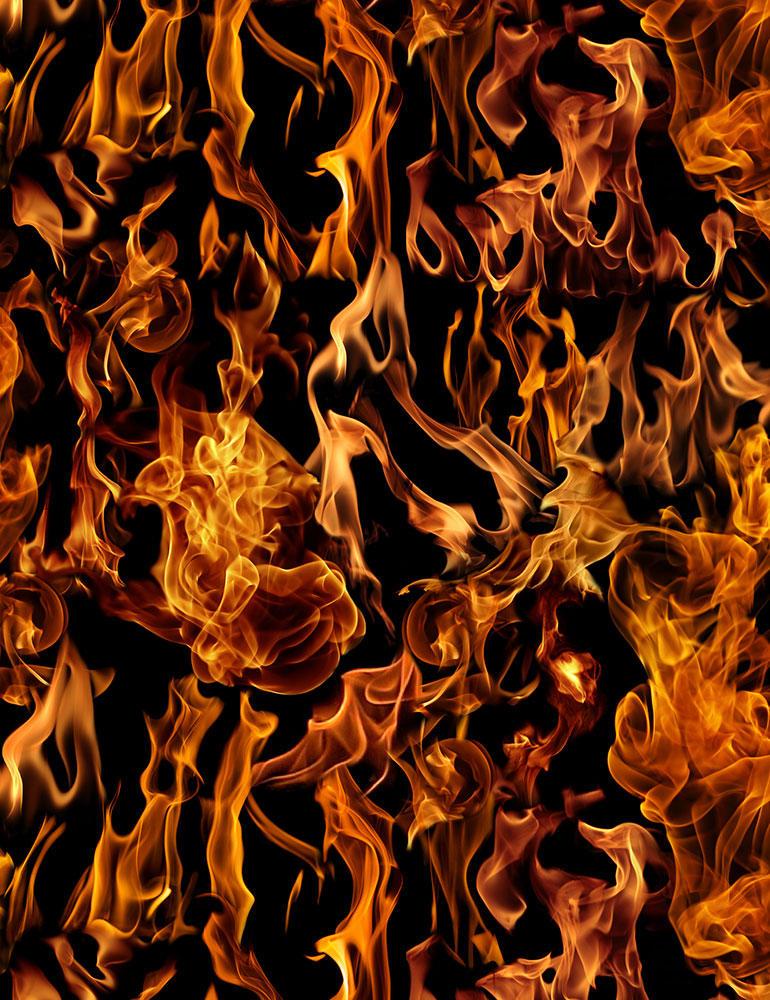 Timeless Treasure - Flames - FIRE-C7734 - Black