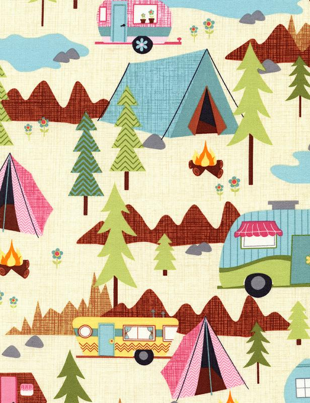 Camping Scenic Cream by Timeless Treasures C2324