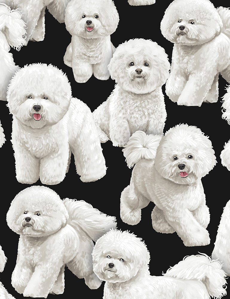 SPECIALTY FABRICS ROOM:  Bichon Frise Dogs on Black by Timeless Treasures