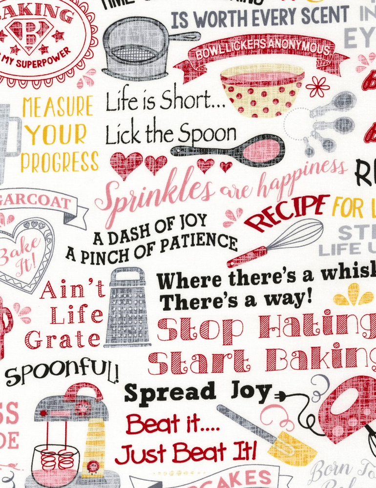 Baking Sweetheart Text Fabric Pink Kitchen Food Fabric Wisk