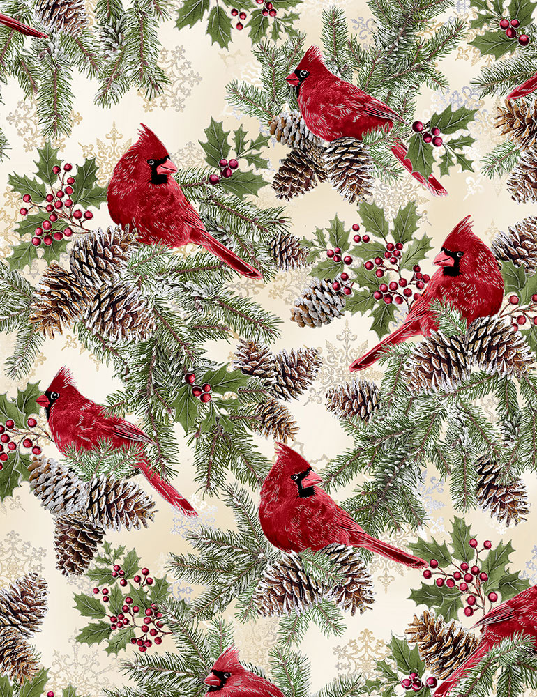Cardinals on Holly Holiday-CM6959-Cream