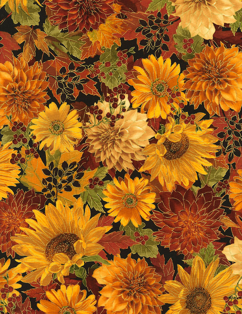 Flowers Autumn Harvest Timeless Treasures CM6140