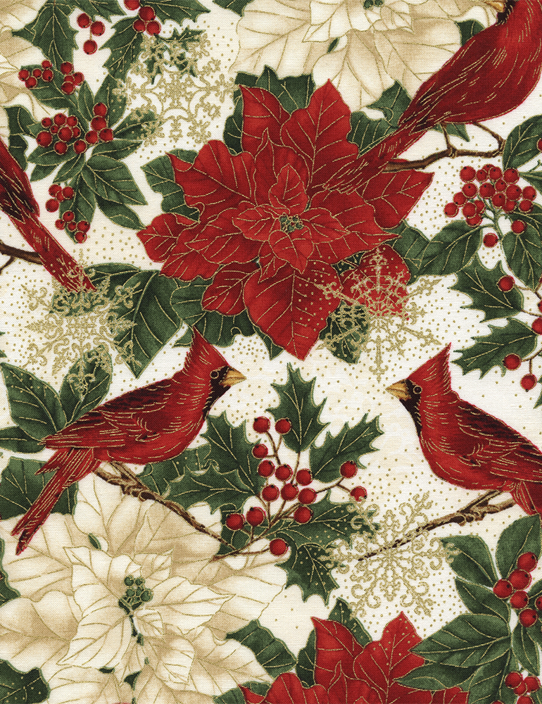Poinsettia & Cardinals