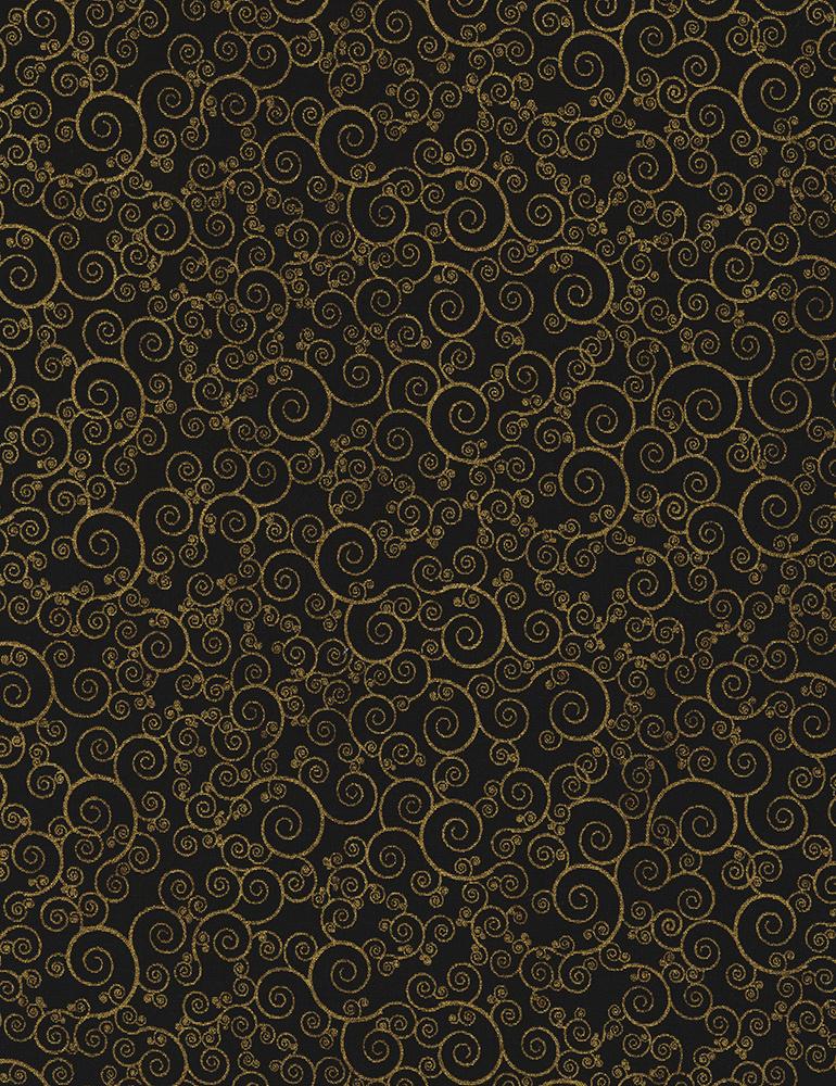 Gold Scrolls on Black