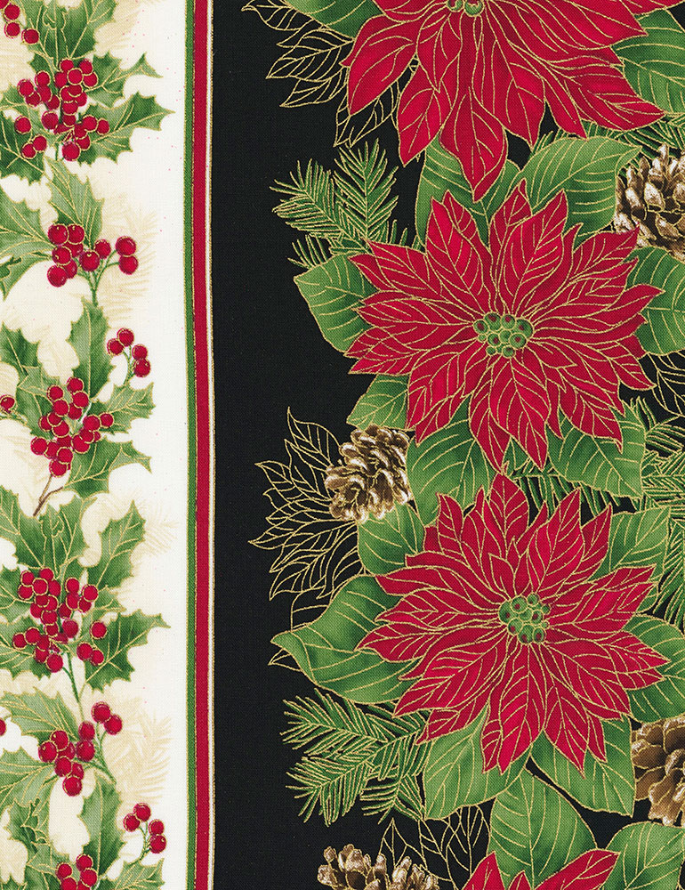 Poinsettia Holiday Stripe, Winter Holiday, Timeless Treasures
