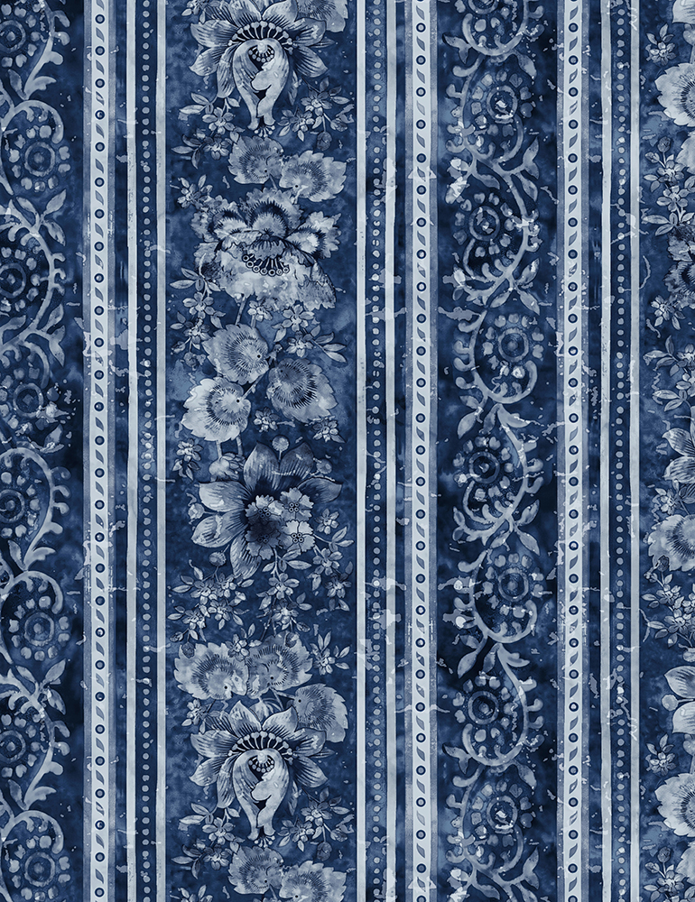 Elegant Stamped Floral Stripe - Blue