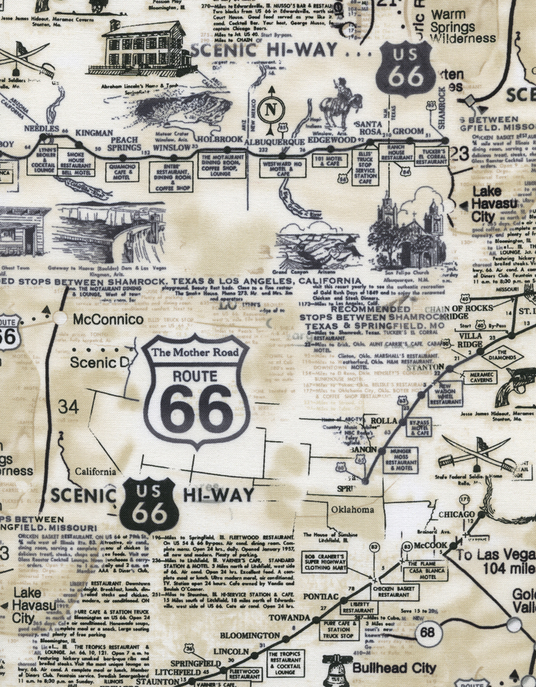 Route 66 Map-Natural by Timeless Treasures C7529
