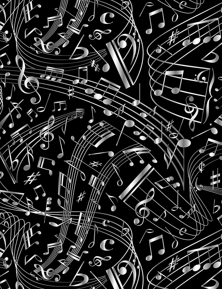 Swirling Music Notes Fabric by the Yard