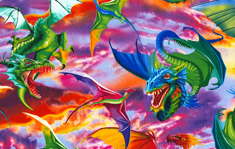 SPECIALTY FABRICS:  Colorful Flying Dragons:  Don't Wake the Dragon by Timeless Treasures