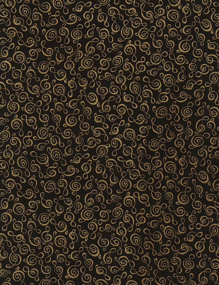 TT- Treble Clef Metallic Gold on Black