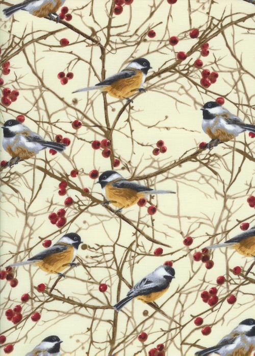 Nature - Chickadees - CREAM / Timeless Treasures