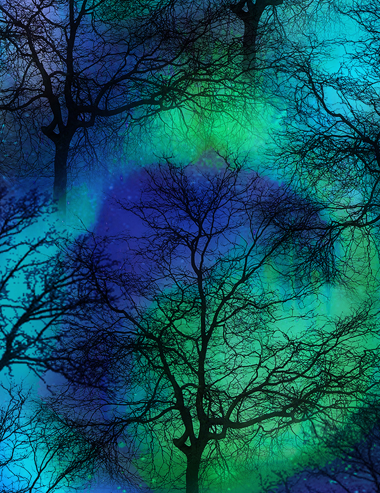 Northern Lights Trees cobalt