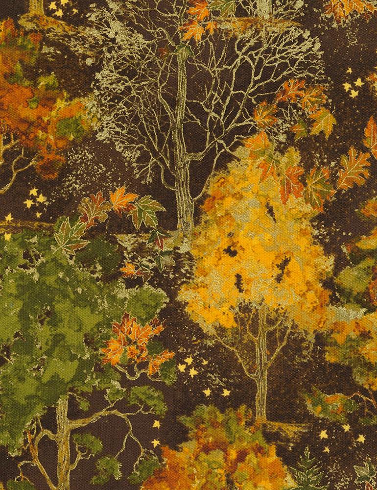 Fall Trees Metallic - Brown