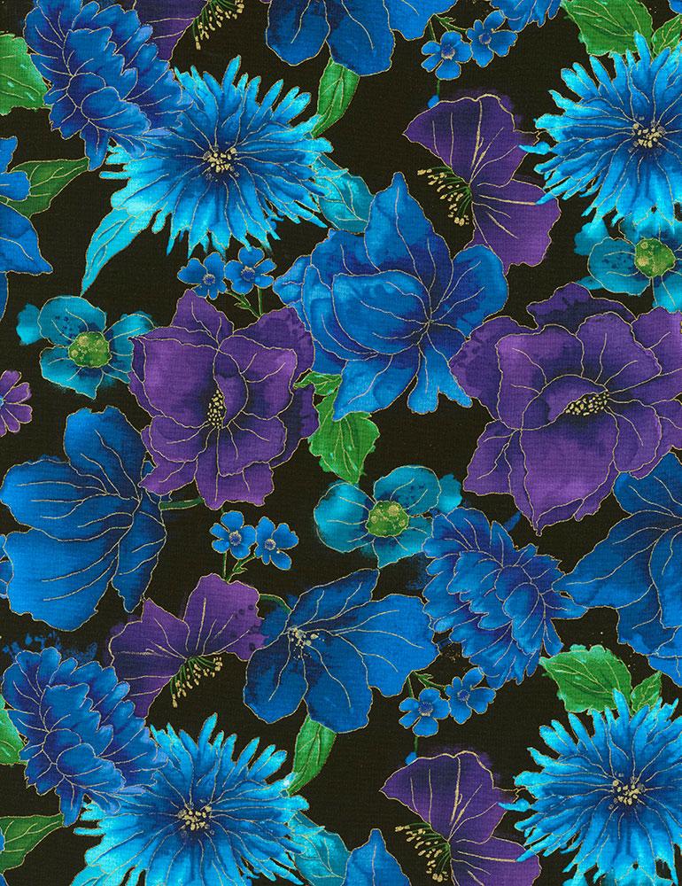 Night CM6095 Black Allover Flowers