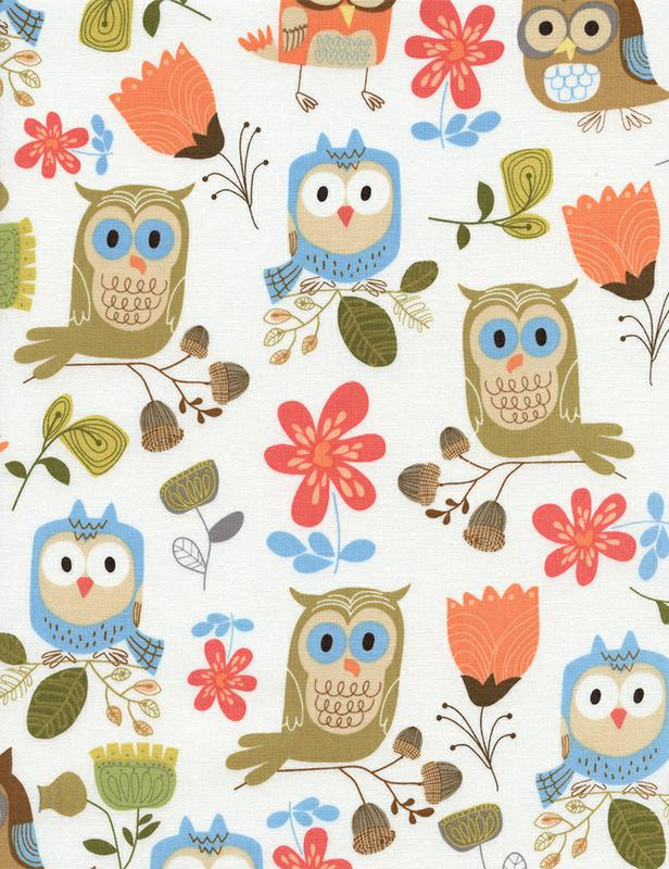 WHITE W/ OWLS, FLORAL & ACORNS TIMELESS TREASURES