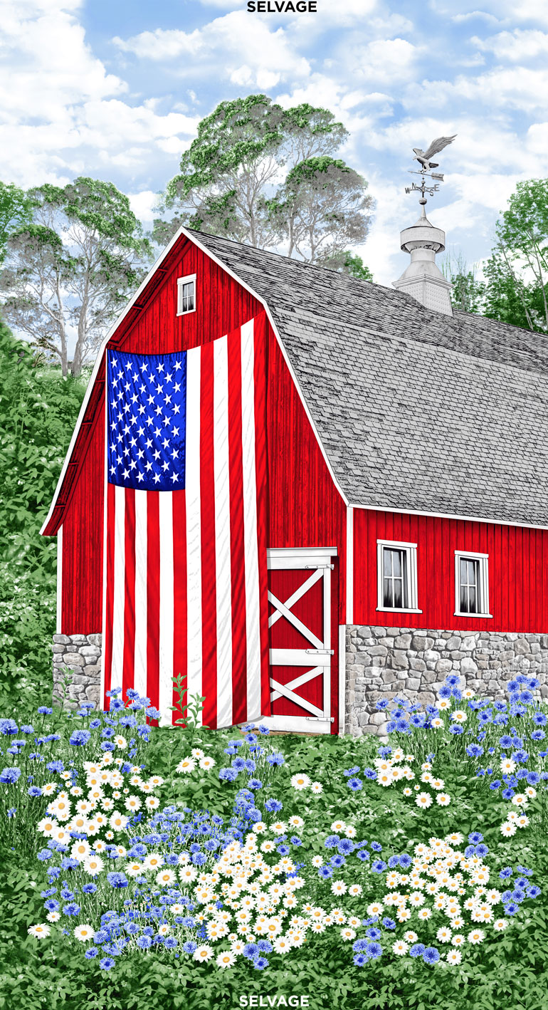 24 Inch Red Barn on Field c7469-multi