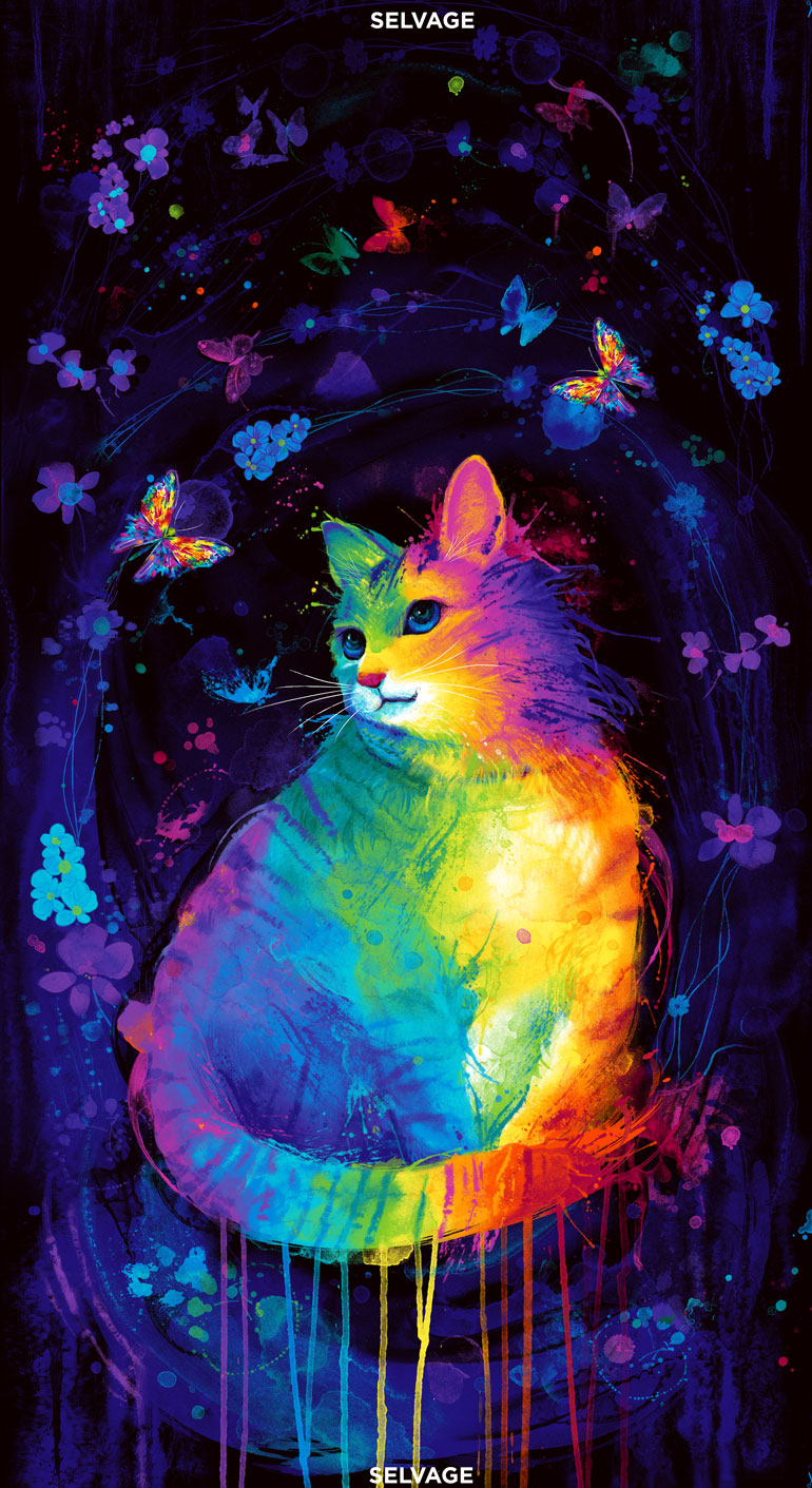 Timeless Treasures Mystical Cat Panel 24 Inches