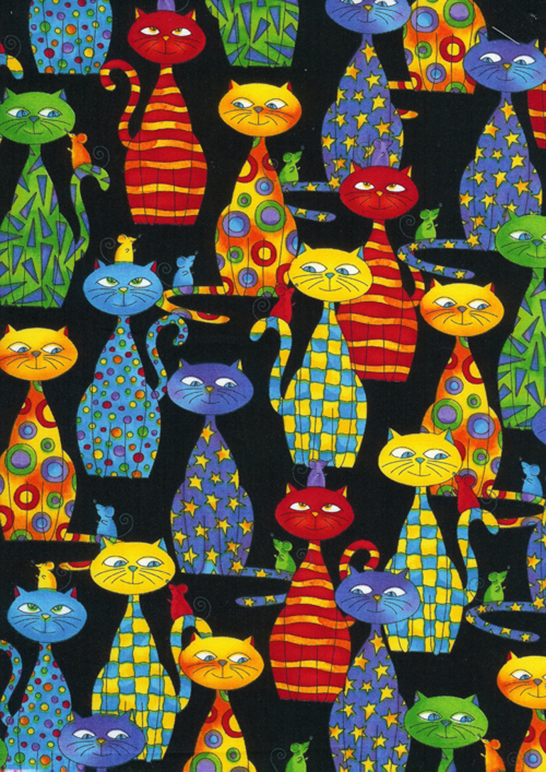 Painted Cats  C2764-BLK