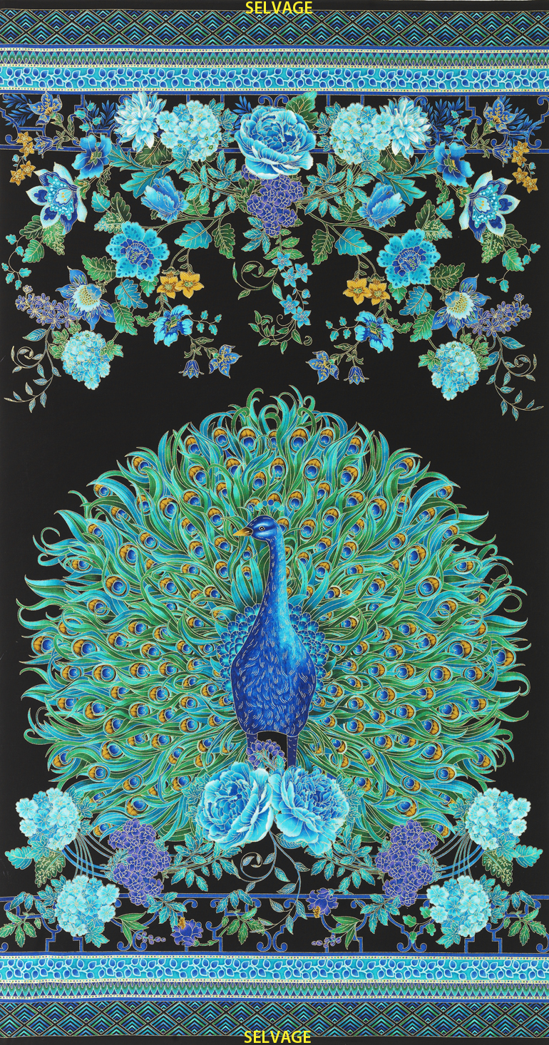24 Inch Enchanted Plume Peacock Panel