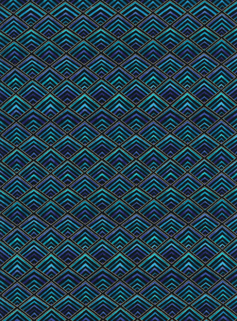 Diamond Geometrics in Blue, Blue Green, and Purple on Black wtih Metallic Accents by Timeless Treasures