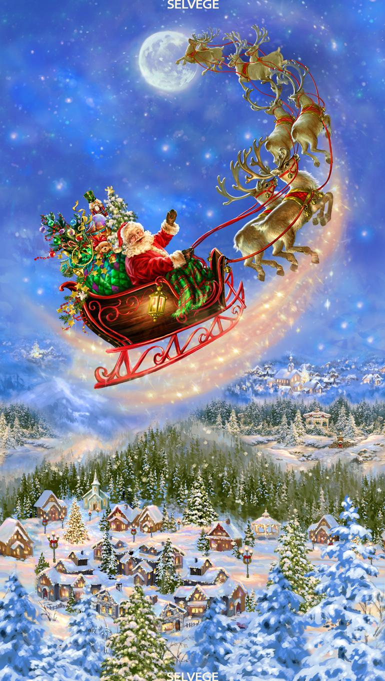 Santa on Sled Christmas Panel