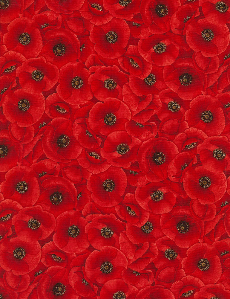 Wild Poppy by Timeless Treasures - Packed Poppies - Red