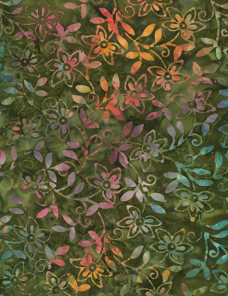 Timeless Treasures Floating Blooms Batik Tonga-B4898-Blossom