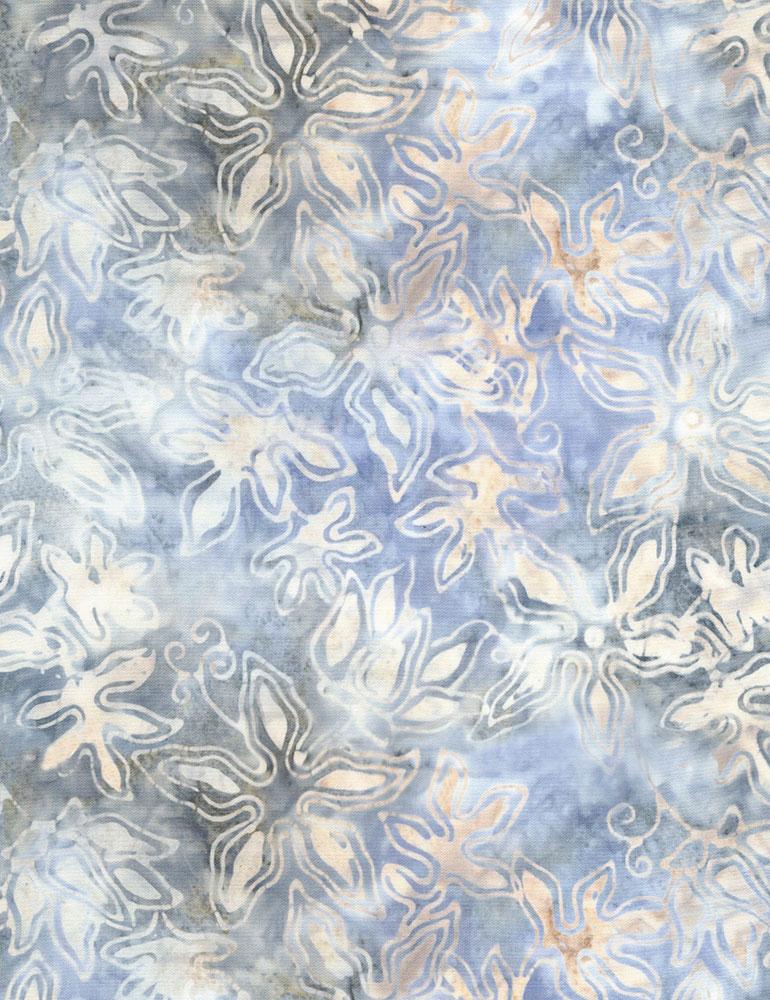 Tonga Stencil Flower Batik B4927 Cloud