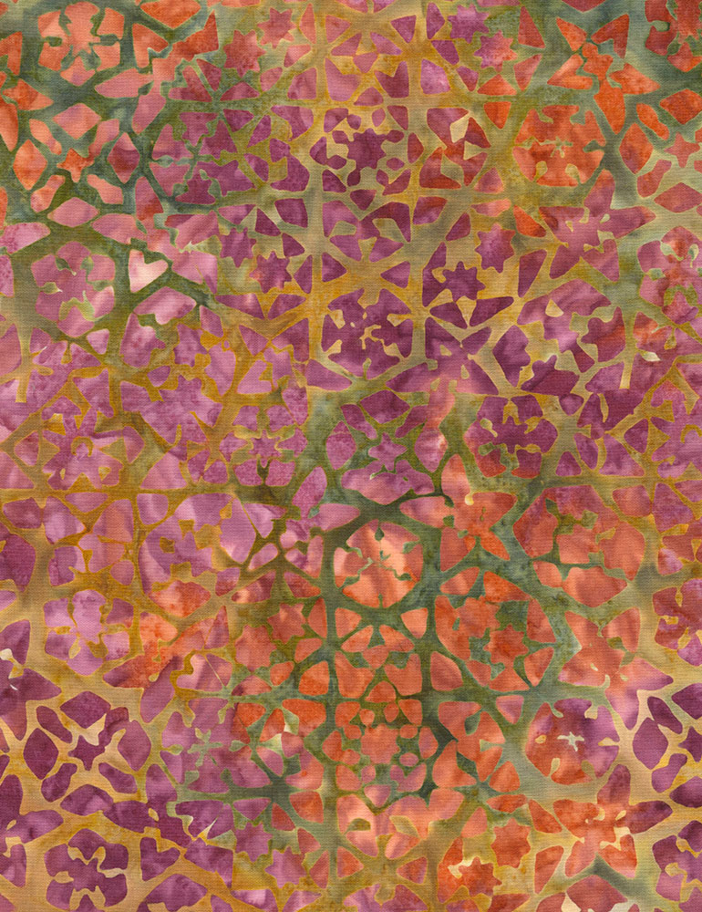 TT- Tonga Tuscany Orchid Fractels on Orange and Olive Batik