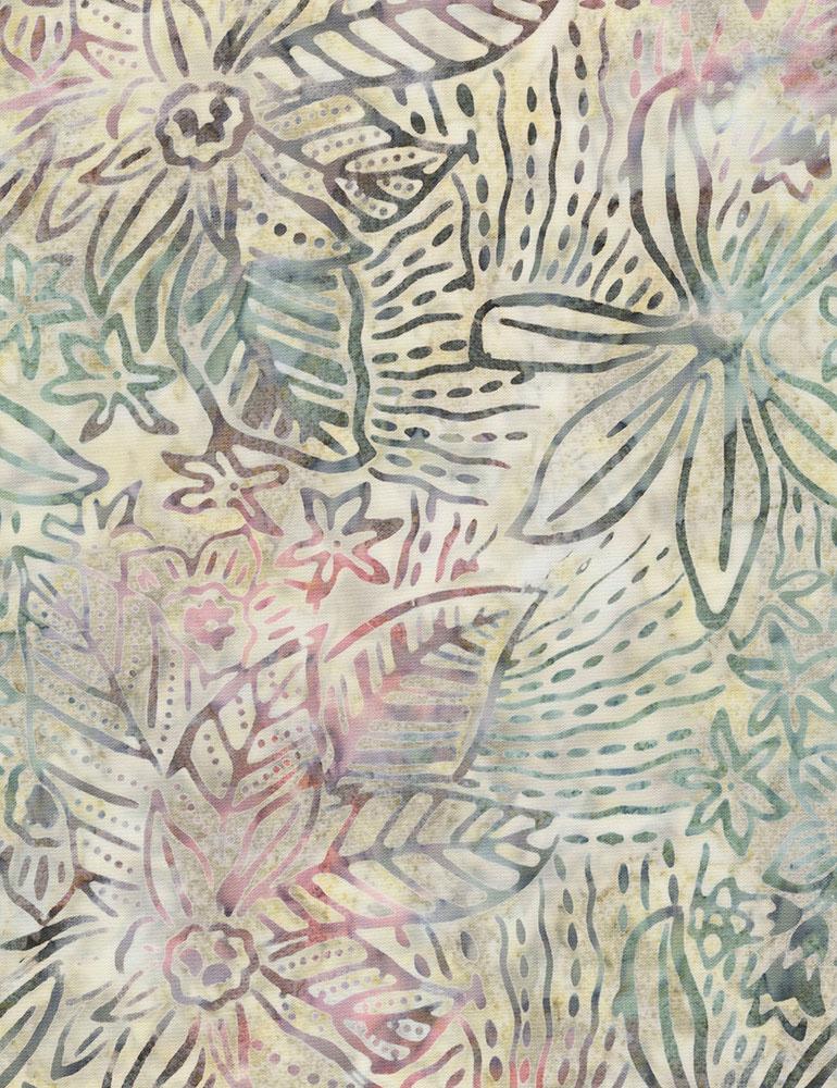 Timeless Treasures Lush Leaves Batik Tonga-B6195-Succulent