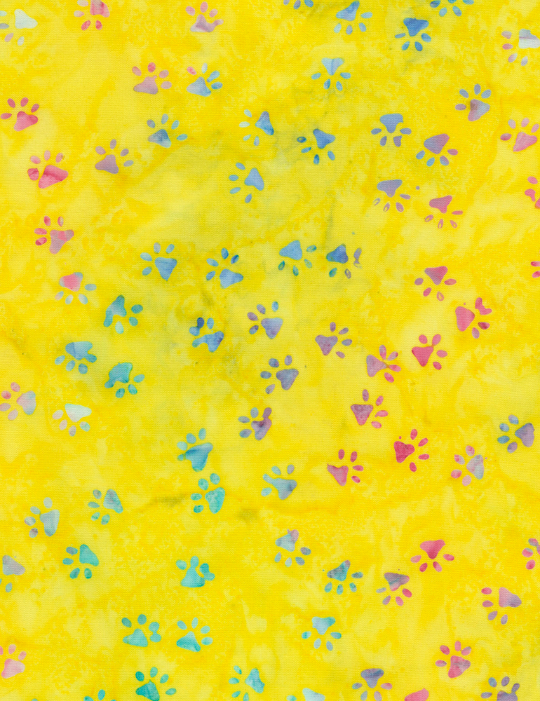 Paw Prints Yellow Batik